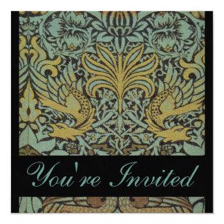 """William Morris Peacock Wedding Invitations 5.25"""" Square Invitation Card"""