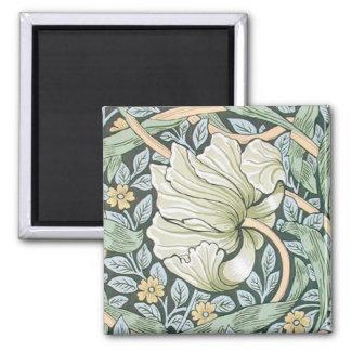 William Morris Pimpernel Floral Design 2 Inch Square Magnet