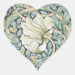 William Morris Pimpernel Floral Design Heart Stickers