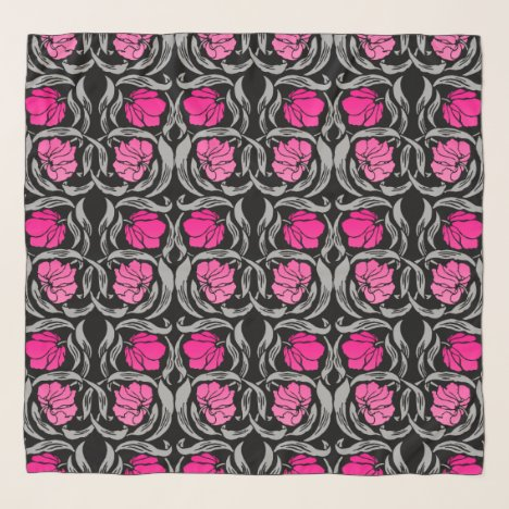 William Morris Pimpernel, Fuchsia Pink and Black Scarf