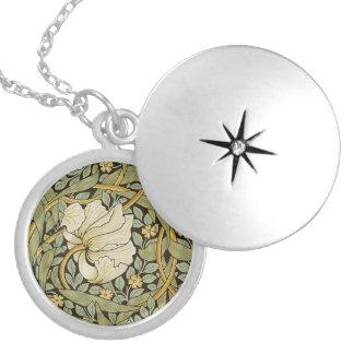 William Morris Pimpernel Vintage Pre-Raphaelite Round Locket Necklace
