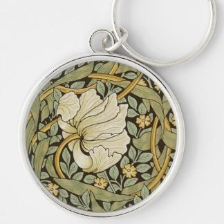 William Morris Pimpernel Vintage Pre-Raphaelite Silver-Colored Round Keychain
