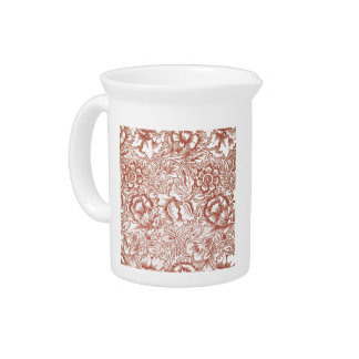 William Morris Pink and Poppy Textile Pattern Beverage Pitcher