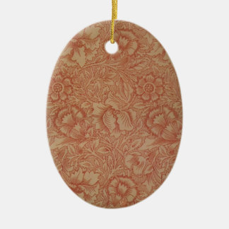 William Morris Pink and Poppy Textile Pattern Ceramic Ornament