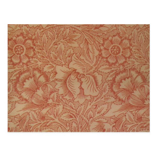 William Morris Pink and Poppy Textile Pattern Postcard