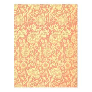 William Morris Pink and Rose Design Postcard