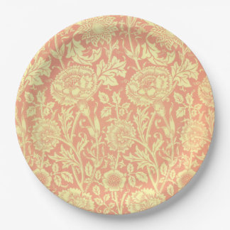 William Morris Pink and Rose Design 9 Inch Paper Plate