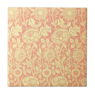 William Morris Pink and Rose Design Small Square Tile