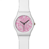 William Morris Pink and White Thistle Pattern Wristwatch