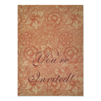 William Morris Pink Poppy Flower Pattern 4.5x6.25 Paper Invitation Card