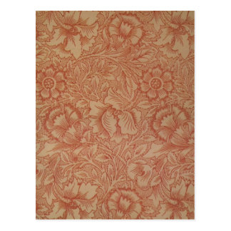 William Morris Pink Poppy Flower Pattern Postcard