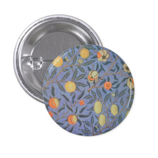 William Morris Pomegranate Floral Vintage Fine Art Pinback Button