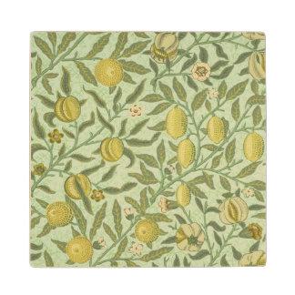 William Morris Pomegranate Fruit Design Wooden Coaster