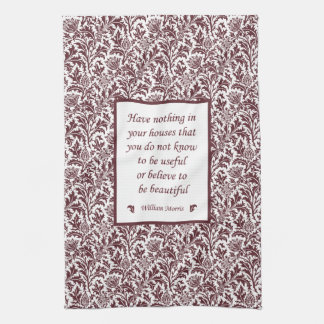 William Morris Quotation Elegant Floral Pattern Towels