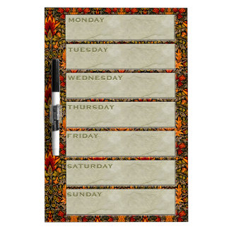 William Morris Re-Usable Weekly Planner Dry-Erase Whiteboards