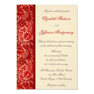 "William Morris Red Leaves Wedding Invitation 5"" X 7"" Invitation Card"