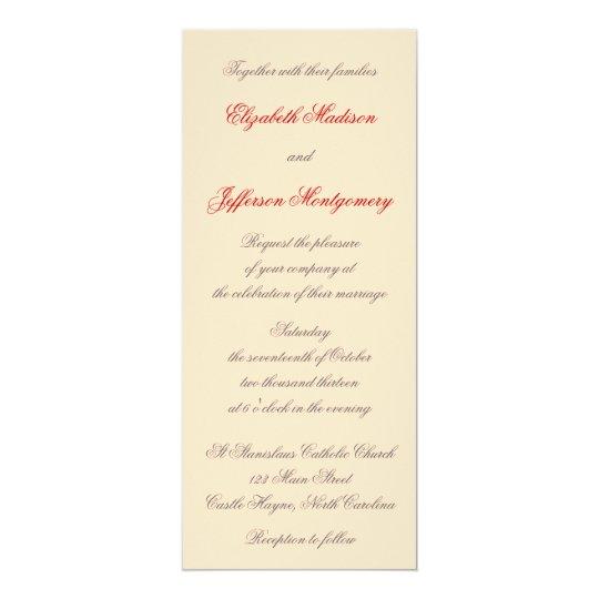 William Morris Red Leaves Wedding Invitation