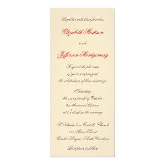 "William Morris Red Leaves Wedding Invitation 4"" X 9.25"" Invitation Card"