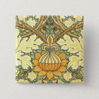 William Morris rich floral pattern Pinback Button