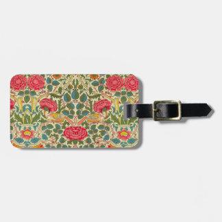 William Morris Rose Floral Vintage Bag Tag