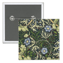 William Morris Seaweed Pattern Floral Vintage Art Button