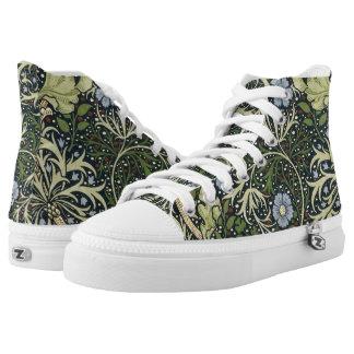 William Morris Seaweed Pattern Floral Vintage Art High-Top Sneakers