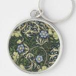 William Morris Seaweed Pattern Floral Vintage Art Keychain