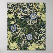 William Morris Seaweed Pattern Floral Vintage Art Poster