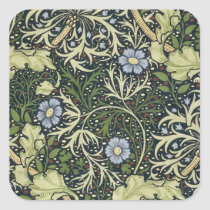 William Morris Seaweed Pattern Floral Vintage Art Square Sticker