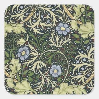 William Morris Seaweed Pattern Floral Vintage Art Square Sticker