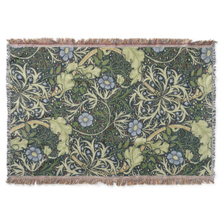 William Morris Seaweed Pattern Floral Vintage Art Throw Blanket