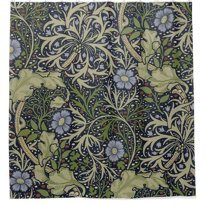 William Morris Seaweed Pattern Shower Curtain Shower Curtain