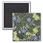 William Morris Seaweed Wallpaper Pattern 2 Inch Square Magnet