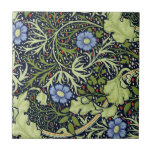 """William Morris Seaweed Wallpaper Pattern Ceramic Tile<br><div class=""""desc"""">Vintage Monogram green and blue Floral Pattern Wallpaper - William Morris produced many vintage wallpaper designs in the 1800s, and the Seaweed pattern is one of the best. The vintage William Morris Seaweed wallpaper pattern is an ornate floral design with flowers and leaves in a lovely blue and green. It...</div>"""