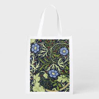 William Morris Seaweed Wallpaper Pattern Grocery Bag