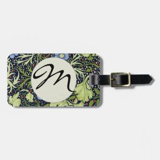 William Morris Seaweed Wallpaper Pattern Travel Bag Tags