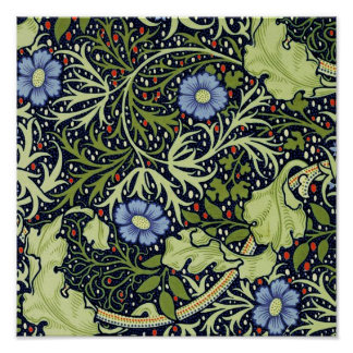 William Morris Seaweed Wallpaper Pattern Poster