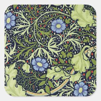 William Morris Seaweed Wallpaper Pattern Square Sticker
