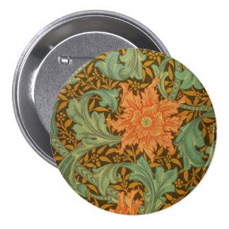 William Morris Single Stem Pattern Art Nouveau Button