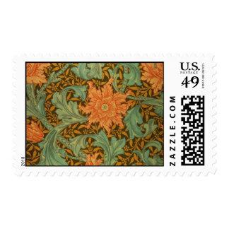 William Morris Single Stem Pattern Art Nouveau Postage Stamp
