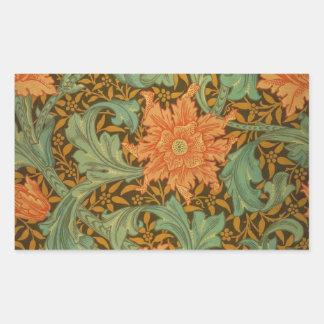 William Morris Single Stem Pattern Art Nouveau Rectangular Sticker