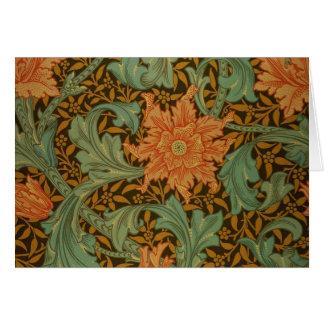 William Morris Single Stem Pattern Floral Vintage Stationery Note Card