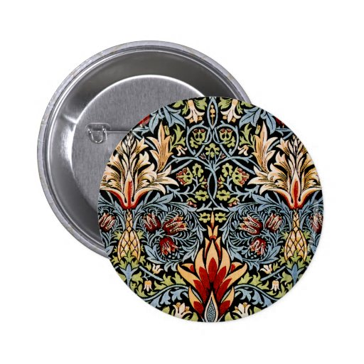 William Morris Snakeshead Floral Design 2 Inch Round Button