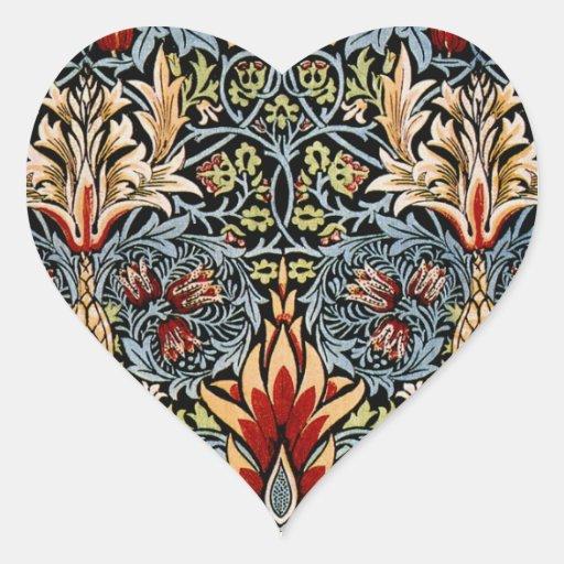 William Morris Snakeshead Floral Design Heart Sticker