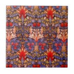 """William Morris Snakeshead Vintage Floral Ceramic Tile<br><div class=""""desc"""">William Morris&#39; Snakeshead textile fabric was first produced in 1876. Inspired from a number of Indian textiles,  this complex design is dominated by rich colors of blueish purple and red.</div>"""
