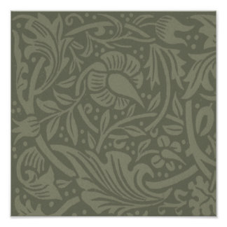 William Morris Soft Green Floral Vintage Pattern Poster