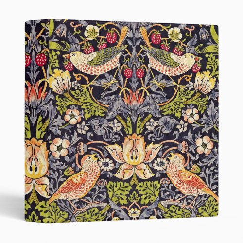 William Morris Strawberry Thief Floral Art Nouveau 3 Ring Binder