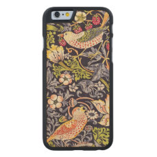 William Morris Strawberry Thief Floral Art Nouveau Carved Maple iPhone 6 Case