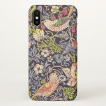 """William Morris Strawberry Thief Floral Art Nouveau iPhone X Case<br><div class=""""desc"""">William Morris Strawberry Thief Floral Art Nouveau Watercolor Painting Strawberry Thief is one of William Morris&#39;s most popular repeating designs for textiles. It takes as its subject the thrushes that Morris found stealing fruit in his kitchen garden of his countryside home, Kelmscott Manor, in Oxfordshire. William Morris was an English...</div>"""