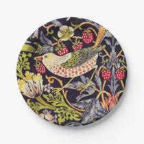 William Morris Strawberry Thief Floral Art Nouveau Paper Plate